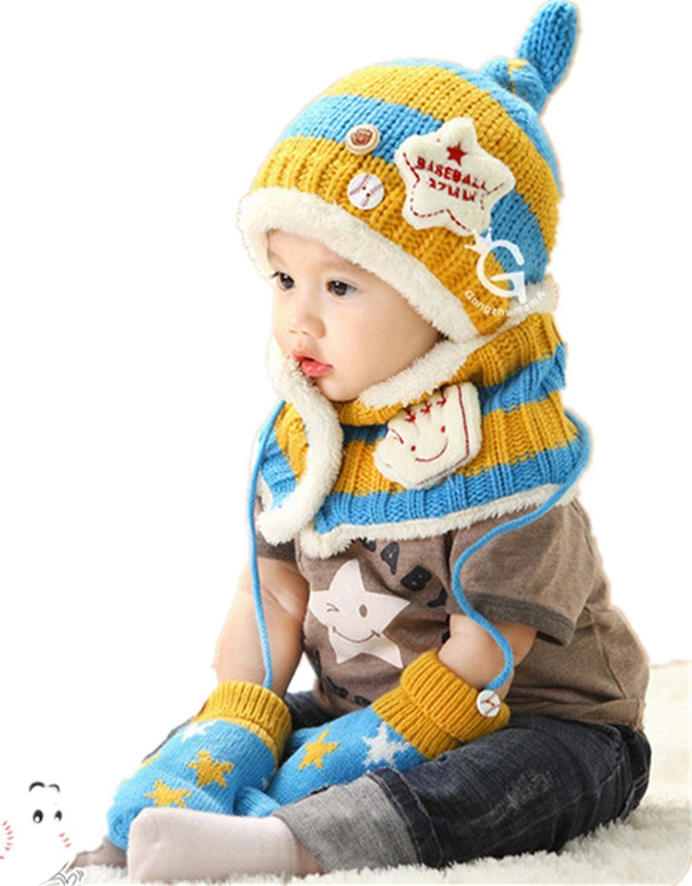 Winter Warm Boys Wool Hat/Scarf/Mitten Set Knitted Plush Hat Scarf Yellow &Blue