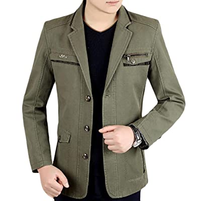 Abetteric Men Solid Single Breasted Notch Lapel Patch Pocket Blazer Coats