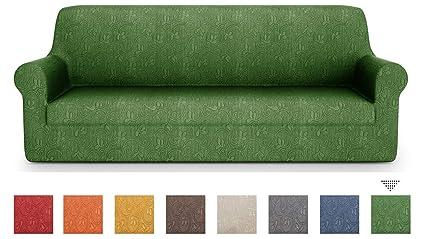 PETTI Artigiani Italiani – Fundas Sofa, Fundas de Sofa, Funda Sofa 2 Plazas, Verde, Fundas Sofa Elasticas, Tejido Jacquard, 100% Made in Italy