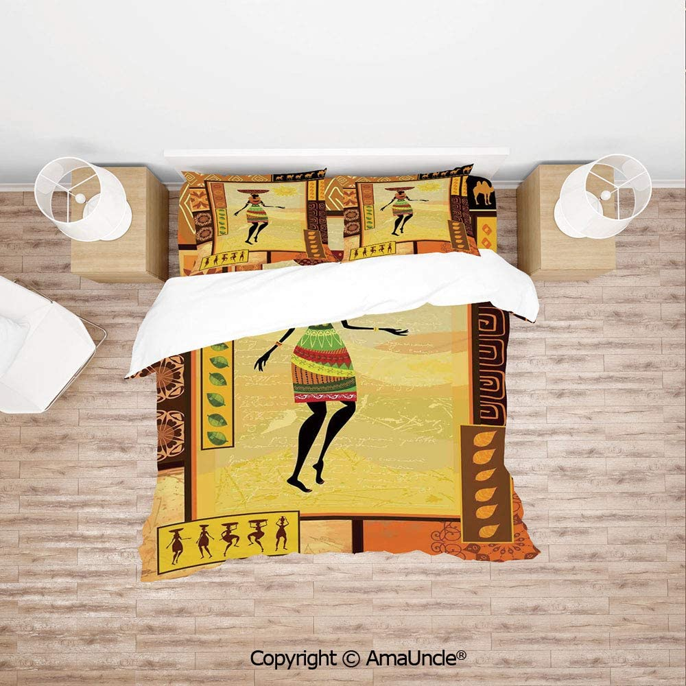 SCOCICI African Girl Dressed Ethnic Under Sun Figure Folk Culture Tribal Elegance Displa 4pc Bedding Sets,1Duvet Cover,1Flat/Fitted Sheet,2 Pillowcase(no Comforter Inside)