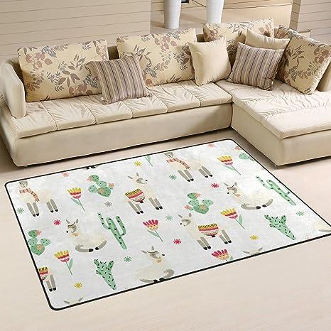 Amazon.com: welllee alfombra de área, alpaca encantador en ...