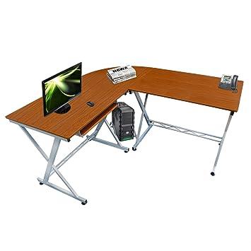 lyndan durango nogal esquina mesa de ordenador escritorio con forma de l para hogar y
