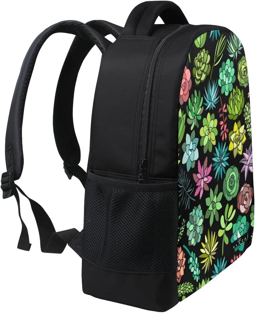 Succulent Plant Print Laptop Backpack High School Bookbag Casual Travel Daypack