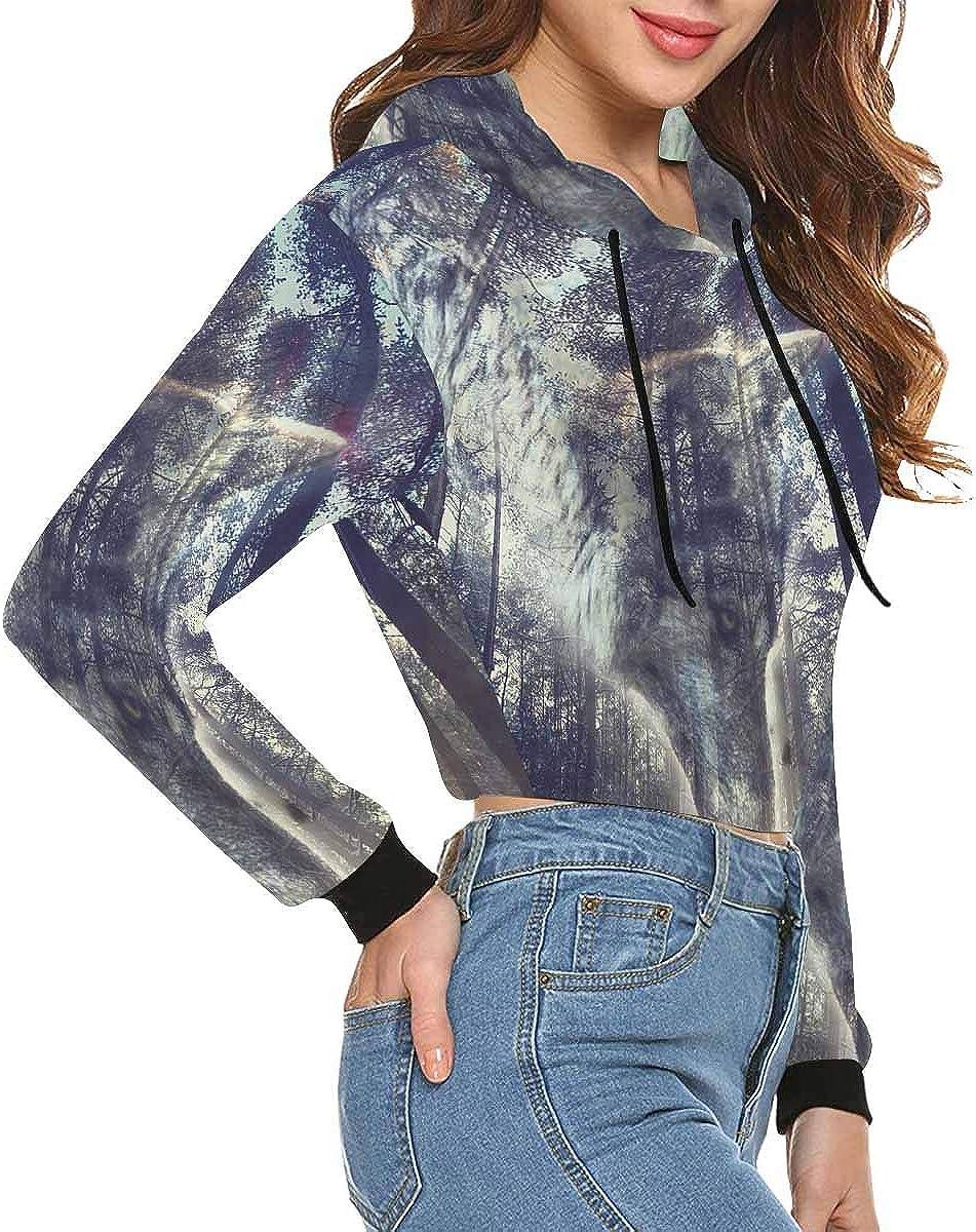 INTERESTPRINT Women Long Sleeve Hooded Crop Tops Sweatshirt Loose Pullover Shirts XS~2XL