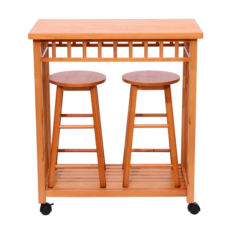 Amazon Com Homcom 32 Rolling Wooden Storage Cart Kitchen Trolley W Stools Home Kitchen