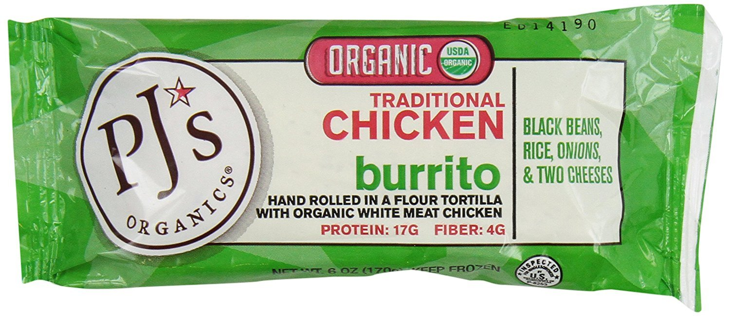 PJ's Organic Chicken Burrito, Traditional, 6 Ounce (Pack of 12)