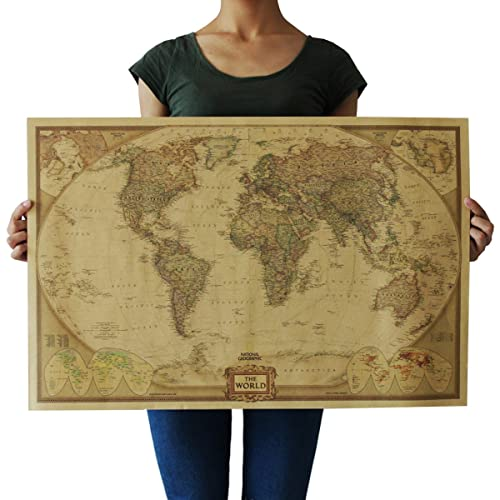 Pyramid international world map vintage style maxi poster amazon souarts cream color kraft paper rectangle vintage world map decorative poster print picture gumiabroncs Gallery