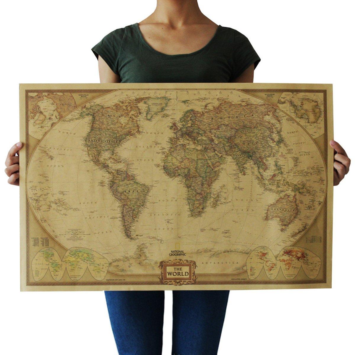 Souarts Cream Color Kraft Paper Rectangle Vintage World Map Decorative Poster Print Picture