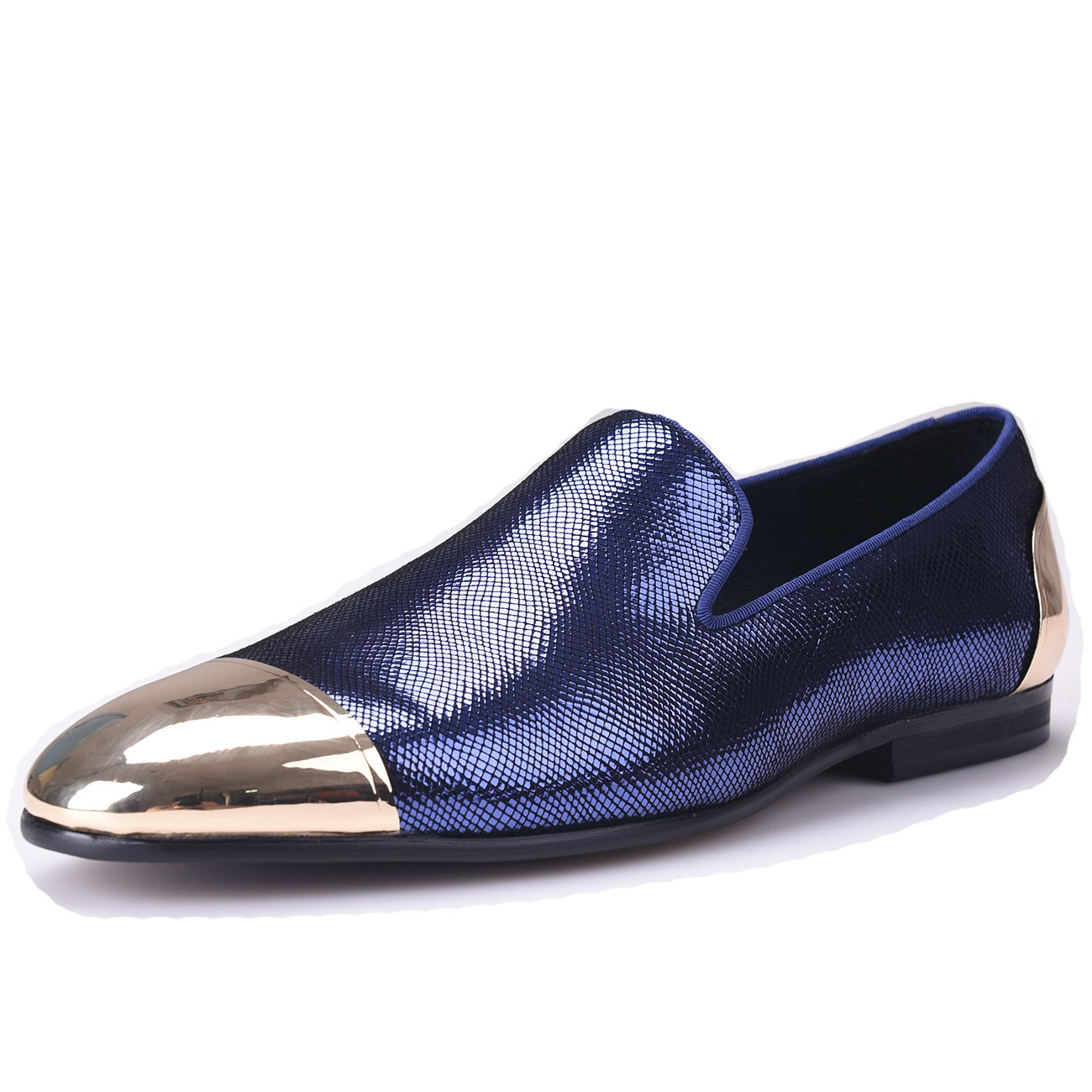 bed6995a5a751 HI&HANN Sheepskin with Front and Back Metal Men's Loafer Shoes Slip-on  Loafer Round Toes Smoking Slipper