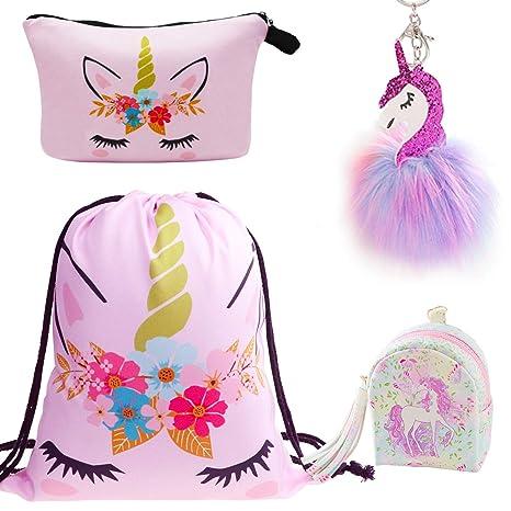 DRESHOW 1 Pack Unicorn Sequin Drawstring Backpack Mermaid Sequin Bag Magic Reversible Glittering Bag Unicorn Gift for Girls Boy