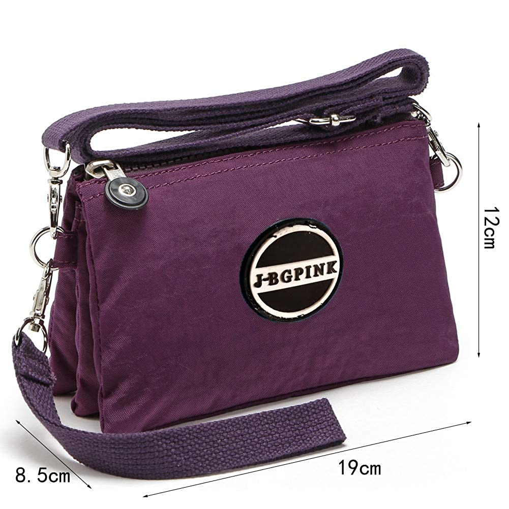 3 Layer Zipper Nylon Wallets for Women Wristlet Bag Purse Waterproof Cell  Phone Pouch Handbag(B-Black)  Handbags  Amazon.com 16b82942d38f
