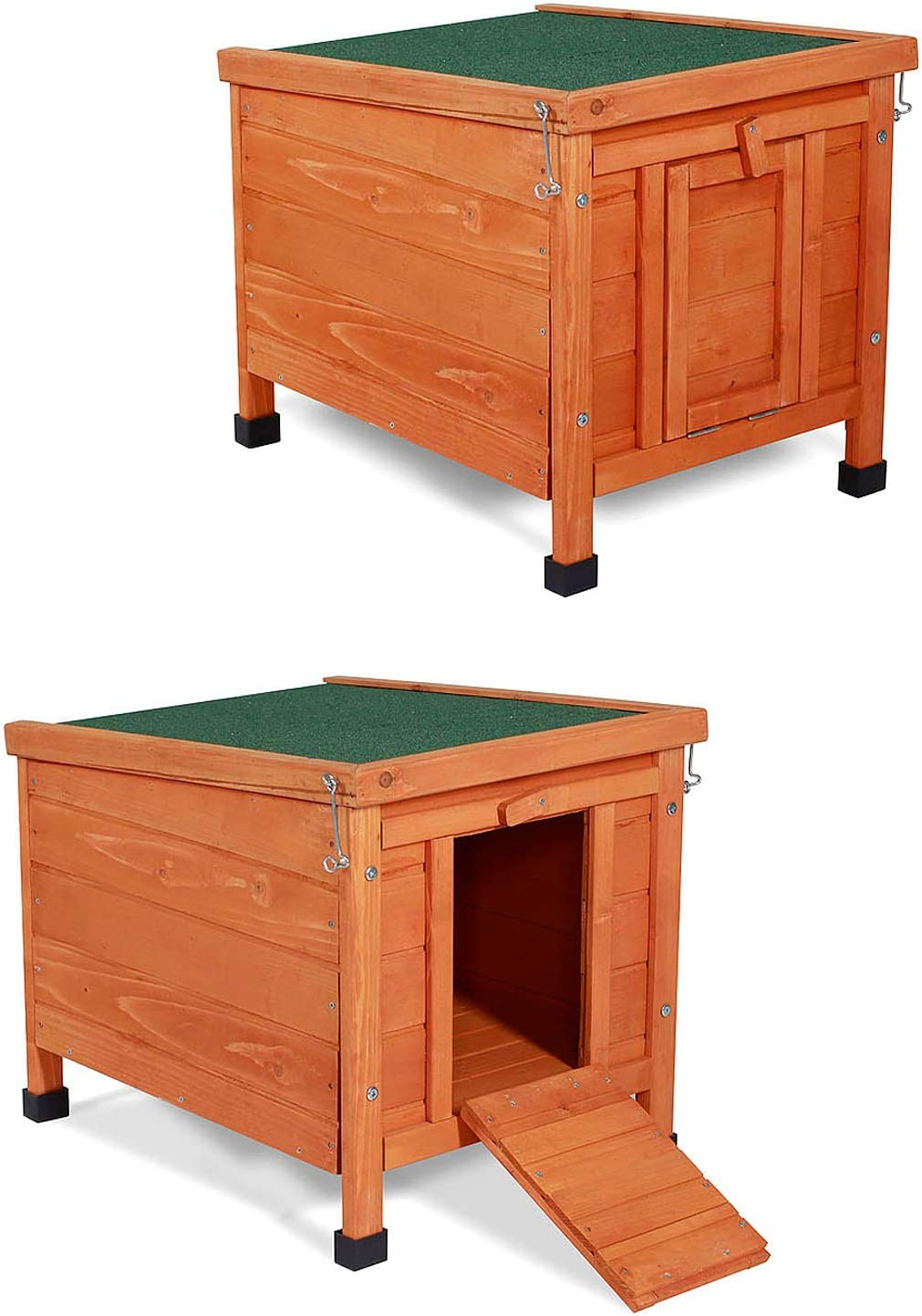 Dibea Conejera de Madera caseta Exterior para Mascotas pequeñas cobertizo 43x43x52 cm