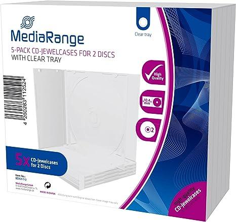 MediaRange Cajas CD doble, 10 mm, Transparente, 5 unidades Caja ...