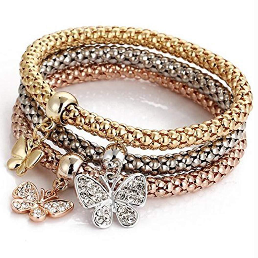3Pcs/set Crystal Butterfly Bracelet & Bangle Jewelry Women by weel (Image #1)