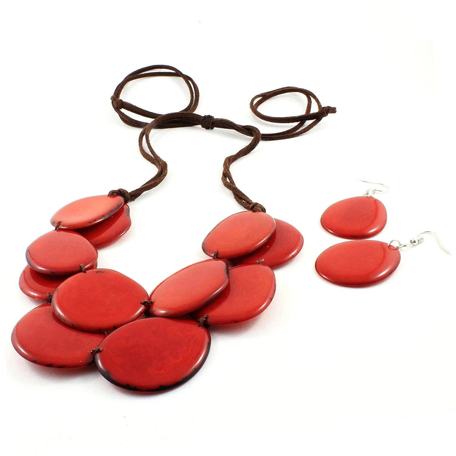 TAGUA NUT CHUNKY HOOPS AND SLICES MULTICOLOURED ETHICAL FAIR TRADE SUSTAINABLE