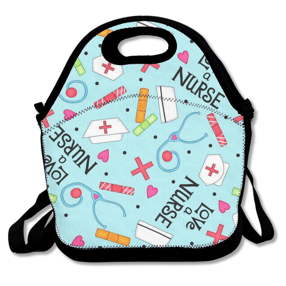 Love A Nurse Whimsy Blue Lunch Bag Lunch Tote Lunch Pouch Handbag Made For Women, Men And Kids