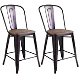 """Costway Copper Set of 2 Tolix Style Metal Dining Chairs with Wood Seat Stackable Industrial Cafe Side Chairs (Height 23.6"""")"""