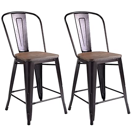 COSTWAY Copper Set Of 2 Tolix Style Metal Dining Chairs With Wood Seat  Stackable Industrial Counter