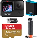 GoPro HERO9 Black, Waterproof Action Camera, 5K/4K Video, Starter Bundle with Extra Battery, Floating Hand Grip, 32GB microSD