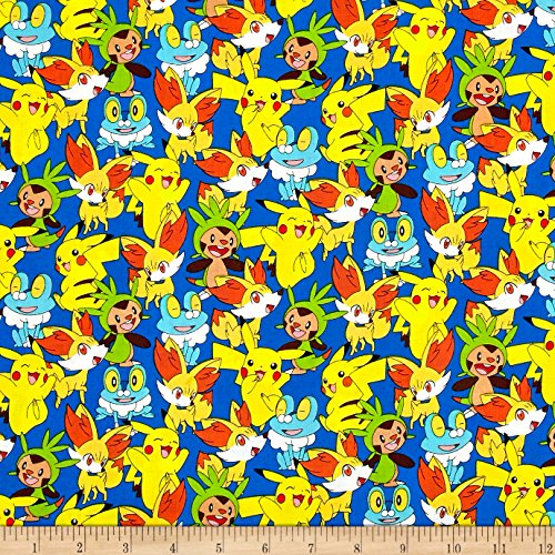 Kaufman Pokemon Collage Royal Fabric By The (Pokemon Fabric)