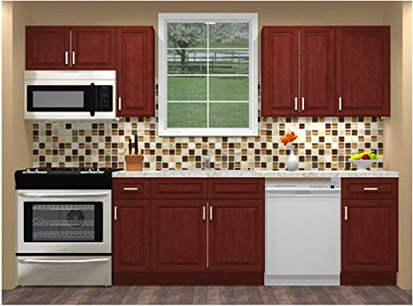 Amazon Com Lily Ann Cabinets 10 Foot Run Wood Kitchen Cabinets Ready To Assemble Rta Charleston Cherry Kitchen Dining