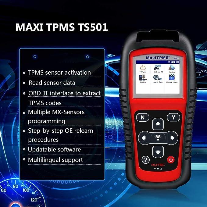 Autel Maxitpms Obd2 Ts501 Diagnosegerät Tpms Sensor Tool Felercodeleser Magnetische Reifendruckkontrolle System Diagnosewerkzeug Für Alle Fahrzeuge Auto