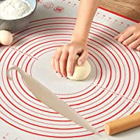 Silicon mat 60 * 40 for dough, bakery, cake, pies and pizza, including an illustrated graphic of the sizes and basic…