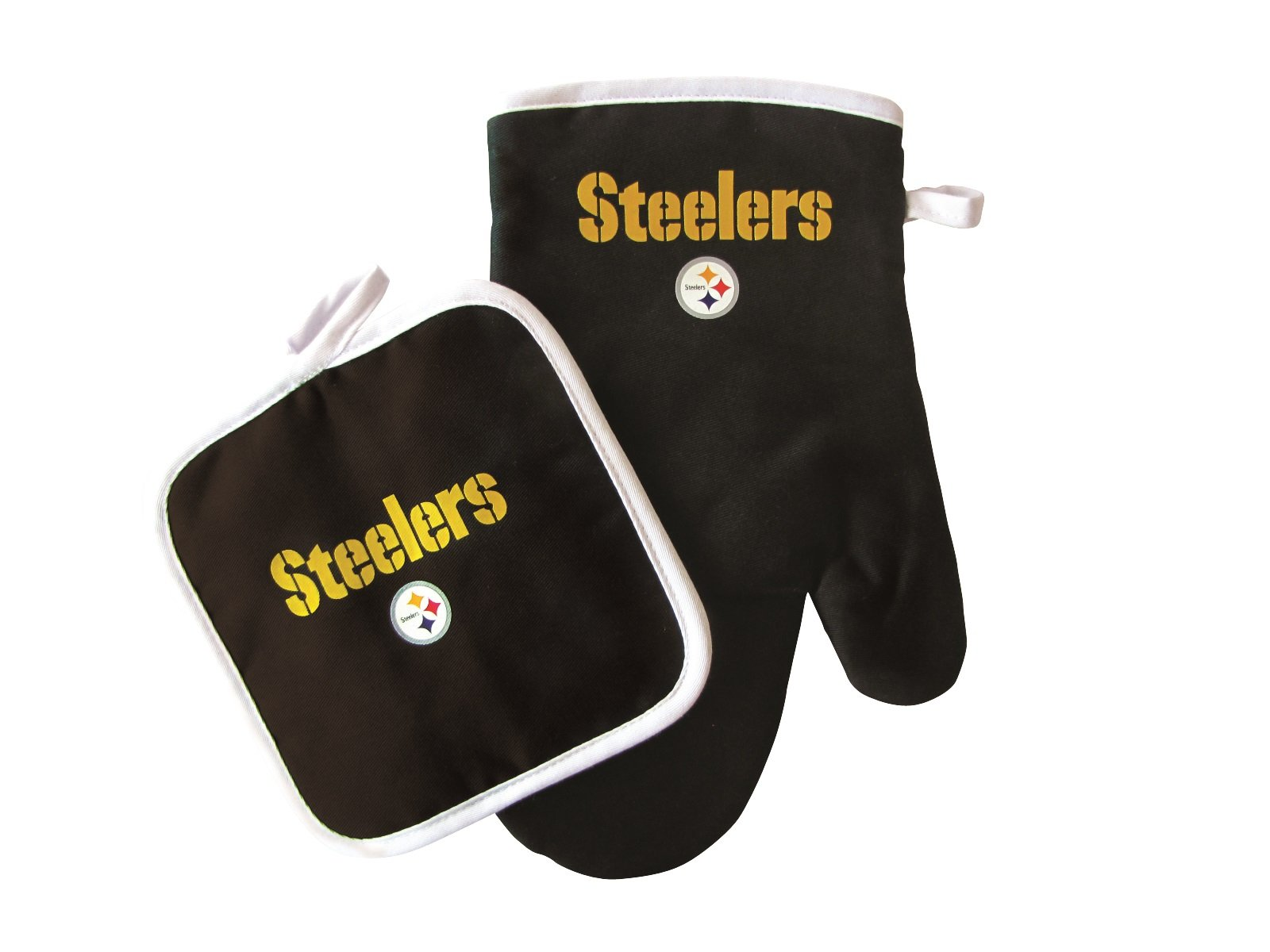 Pro Specialties Group NFL Pittsburgh Steelers Logo Oven Mitt & Pot Holder, One Size, Black
