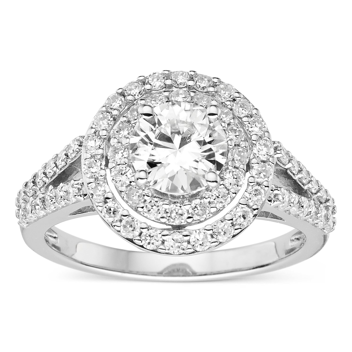 Forever Classic Round Cut 6.0mm Moissanite Halo Ring-size 6, 1.42cttw DEW By Charles & Colvard by Charles & Colvard