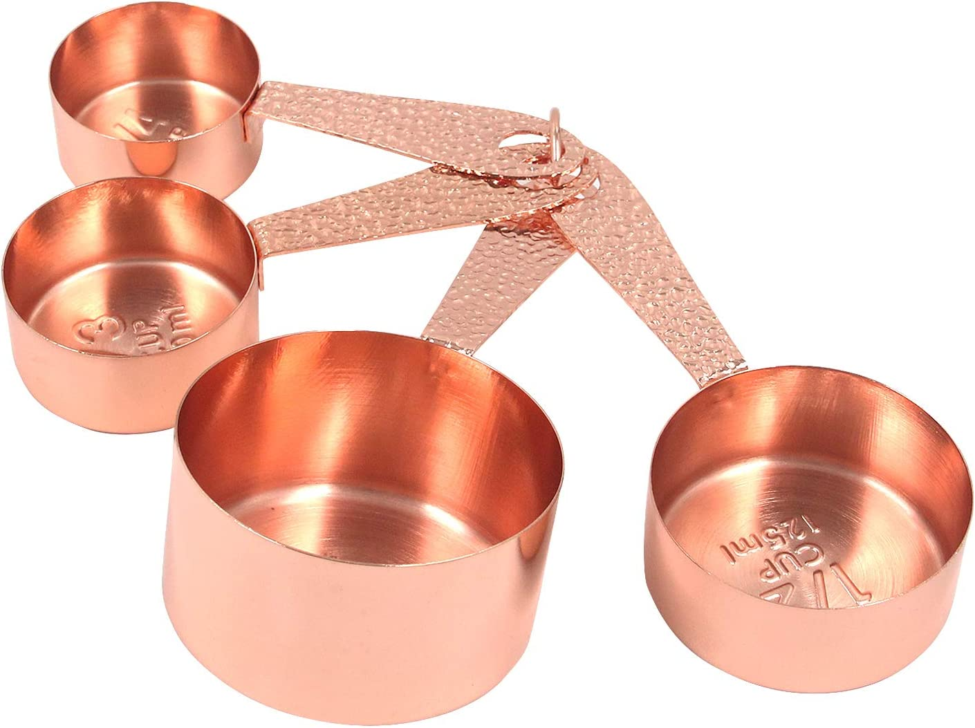 Semetall Measuring Cups 4 Pcs Stainless Steel Measuring Cups Set with Engraved Marking Ruler,Cups for Cooking, Mixing and Food Processing (Rose Gold)