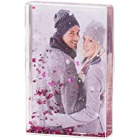 NIUBEE Glitter Liquid Photo Frame 4x6 for Gifts, Clear Plastic Acrylic Floating Sparkle Picture Rose Frame (Pink)