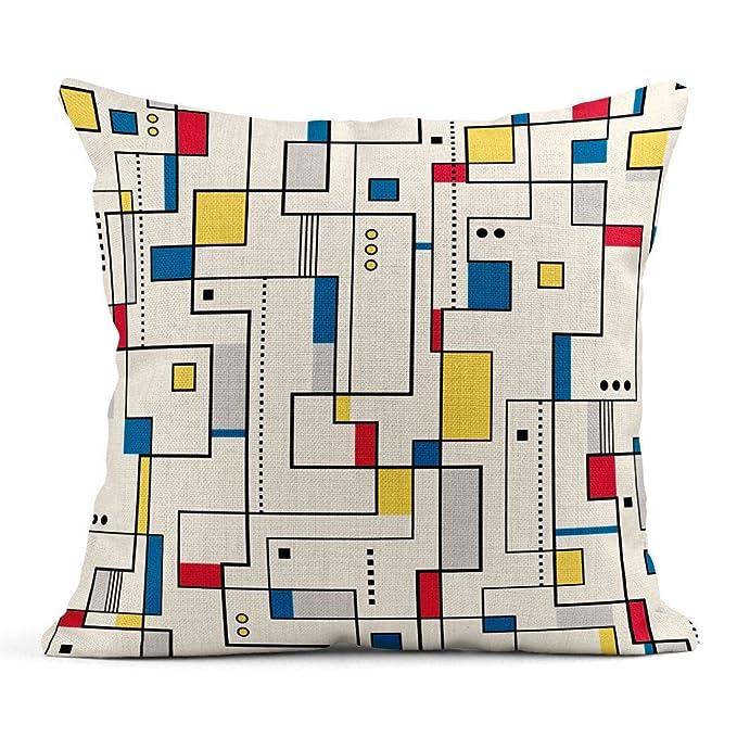 Kinhevao Cojín Colorido Bauhaus Amarillo Rojo Azul Patrón ...
