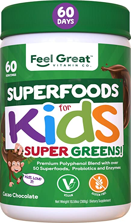 Kids Superfood Greens Cocoa Chocolate Superfood Powder by Feel Great 365 (60 Servings)   Non-GMO, Made with Real Fruits & Vegetables, Gluten Free, Vegan   Multivitamin Drink   Helps Build Immunity