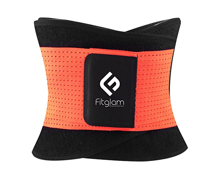 Fitglam Best Waist Trimmer and Trainer Ab Belt Girdle for an Hourglass Body Shaper,L,orange