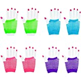 [Novelty Place] Fingerless Diva Fishnet Wrist Gloves Assorted Neon Colors (12 Pairs)