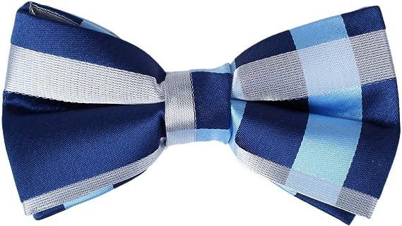 New Men/'s Pre-tied Bow tie /& hankie set Formal silver purple plaids /& checkers