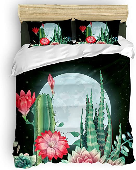 Bright Cactus King Size Reversible Duvet Quilt Cover 2 Pillow Case Novelty Green