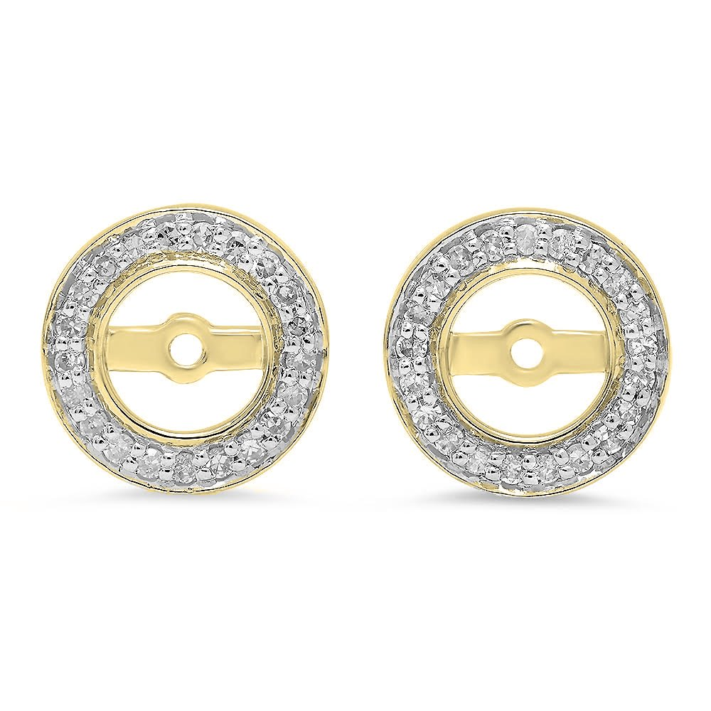 0.20 Carat (ctw) 14K Yellow Gold Round White Diamond Removable Jackets For Stud Earrings 1/5 CT
