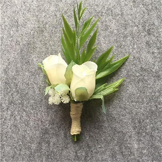 Artificial rosa blanca novio boutonniere Groomsman Buttonholes ...