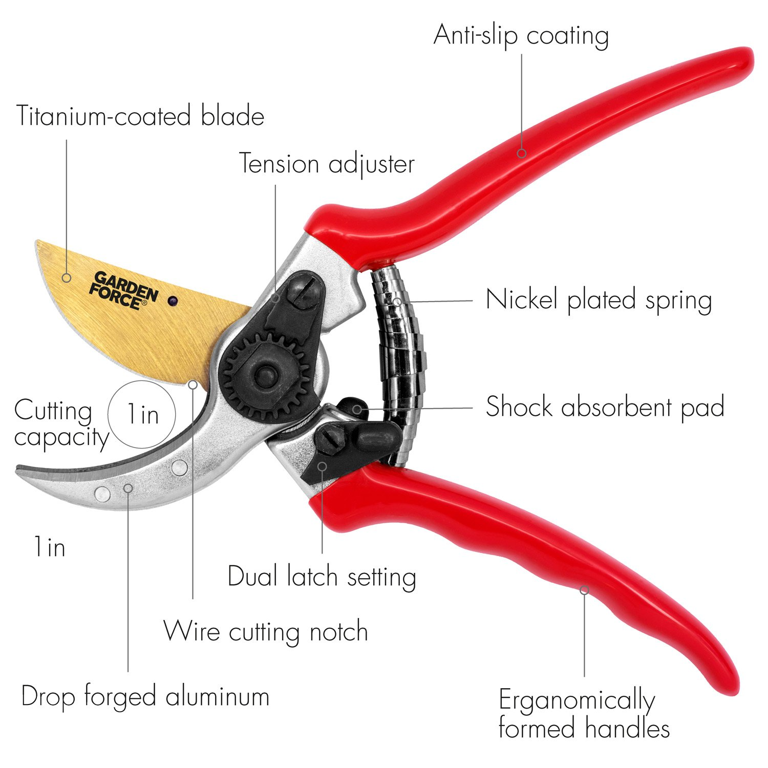 Bypass Garden Pruners By Garden force, Hand Pruners With Titanium Coated Blades For Effortless Plant Trimming, Adjustable Steel Dropped Forged Garden Shears Handles For a Better Gardening Experience
