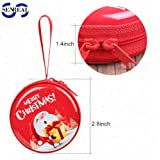 SENREAL Merry Christmas Gift Christmas Decoration Small Coins Wallet With Zipper,Santa Claus( Traditional red)