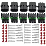 HIFROM (5 Kit of 3 Pin Way Waterproof Electrical Connector 1.5mm Series Terminals Heat Shrink Quick Locking Wire Harness Sockets 20-14 AWG