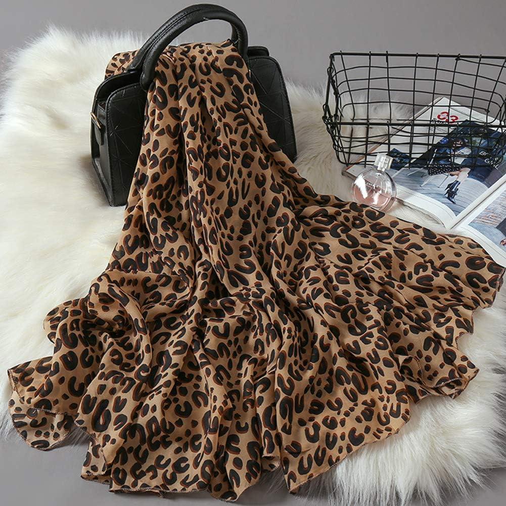 Bufanda de Leopardo Estampado de Leopardo de Moda Bufandas Largas de Gasa Abrigo de Mant/ón para Mujeres o Ni/ñas