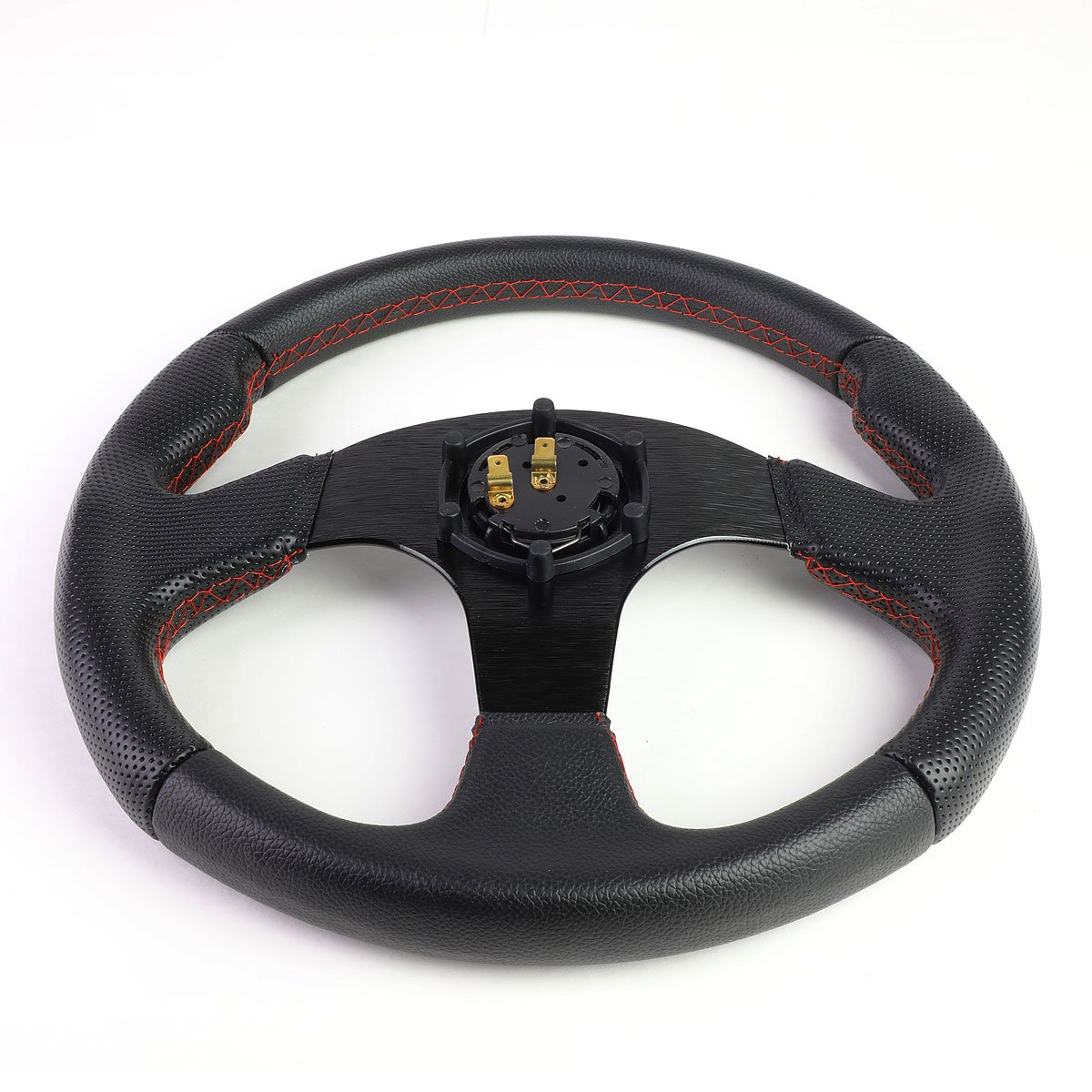 Horn Button Black Spoke//Red Stitch 320mm 6-Bolt Aluminum Frame Vinyl Leather Cover Steering wheels