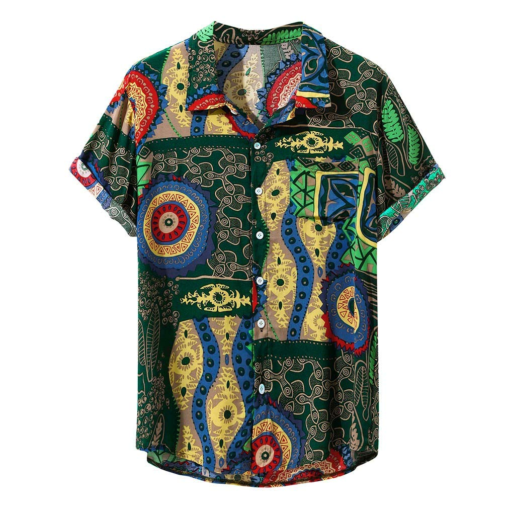 Huifa Mens Printed Fashion Turn Down Collar Short Sleeve Loose Casual Shirts