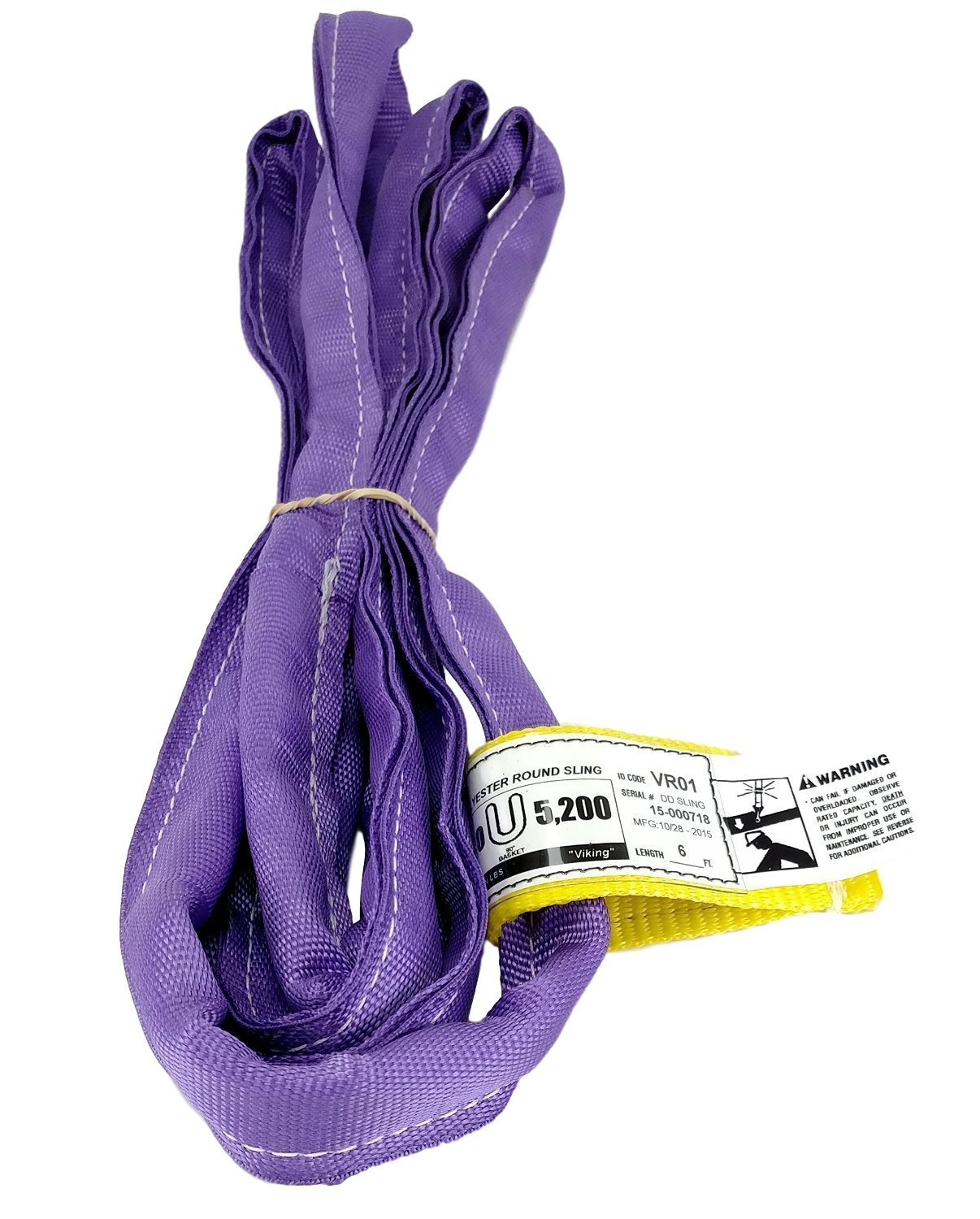 USA Made VR1 X 6' Purple Slings 4'-12' Lengths In Listing, DOUBLE PLY COVER Endless Round Poly Lifting Slings, 2,600 lbs Vertical, 2,080 lbs Choker, 5,200 lbs Basket (USA Polyester)(6 FT)
