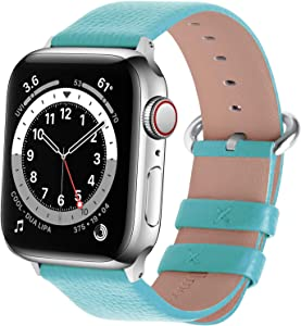 Fullmosa Compatible Apple Watch Band 38mm 40mm 42mm 44mm Calf Leather Compatible iWatch Band/Strap Compatible Apple Watch Series SE/6 Series 5 Series 4 Series 3 Series 2 Series 1,38mm 40mm Sky Blue