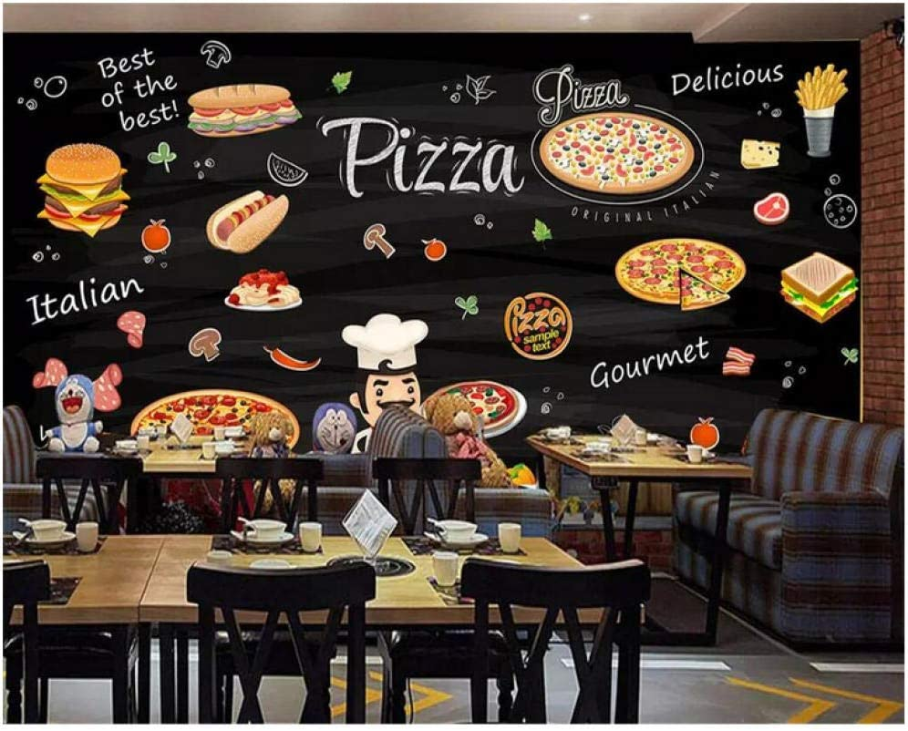 Lovemq Custom Wallpaper Photo Hd Hand Painted Western Restaurant Background Wall Burger Pizza Shop Decoration 3d Wallpaper 200x130cm Amazon Co Uk Diy Tools