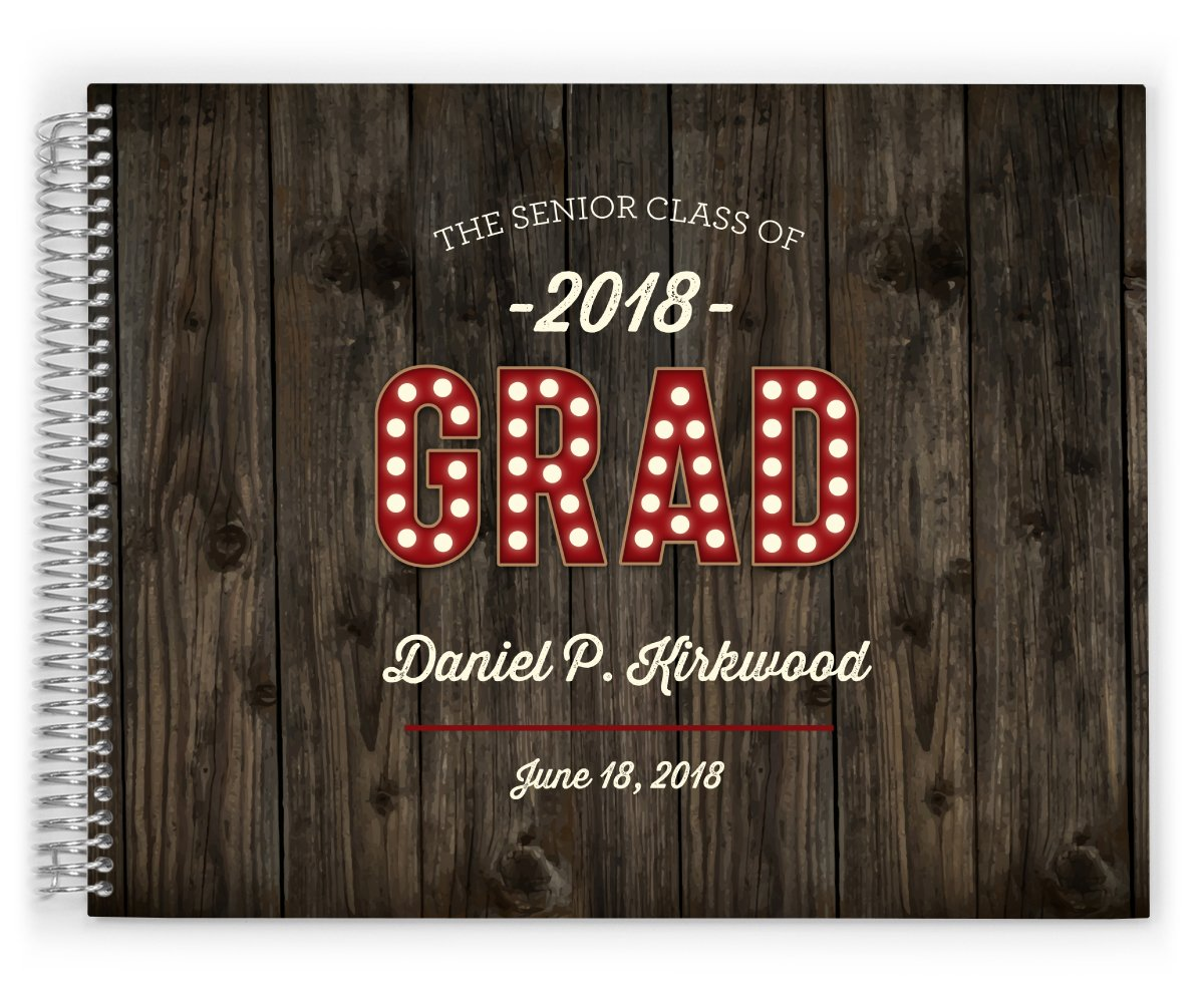 PurpleTrail Custom Graduation Guestbook, 2 Sizes, Hard Cover, Unisex - Rustic Woodgrain Graduation (8 x 6 inches)