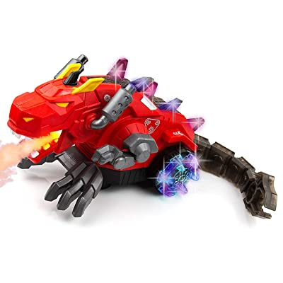 Toysery Mechanical Spray Dragon Dinosaur Toy for Kids - Walking Dragon Spray Mist with Red Light - Electric Toy Fire Breathing Water Spray Dinosaur for Boys, Girls Red: Toys & Games